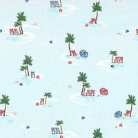 Just Shellin' Lifes A Beach Travel Vacation Seaside Palm Tree Tropical Holiday Cotton Fabric