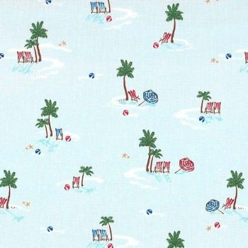 DESTASH 1.25m Just Shellin' Lifes A Beach Travel Vacation Seaside Palm Tree Tropical Holiday Cotton Fabric
