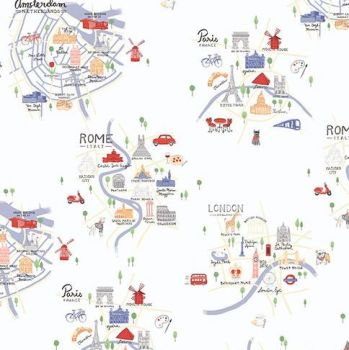 Jetset Europe Overview City Landmark Map Travel Holiday Cities Cotton Fabric