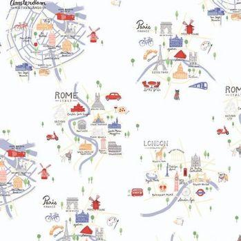 Jetset Europe Overview City Landmark Map Travel Holiday Cities Cotton Fabric
