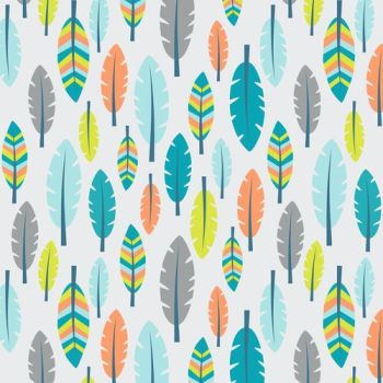 Boho Baby Feathers Blue Feather Cotton Fabric