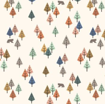 Bear Hug Wilderness Cream Trees Forest Bears Woodland Cotton Fabric