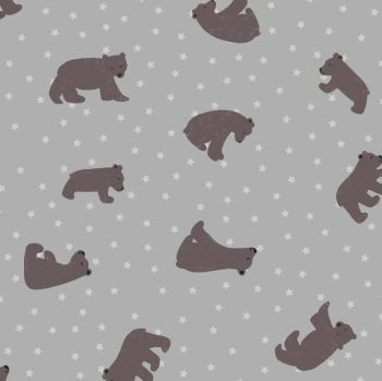 Bear Hug Starry Bear Grey Stars Bears Woodland Cotton Fabric
