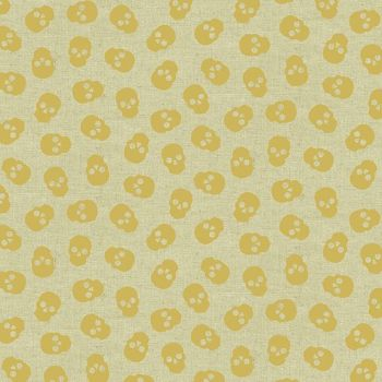Mixtape Tainted Love Metallic Gold Skulls Libs Elliott Skull on Tailored Cloth Cotton Linen Canvas Fabric