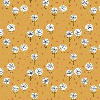Around Town Dandelions Carrot Floral Flowers Botanical Cotton Fabric