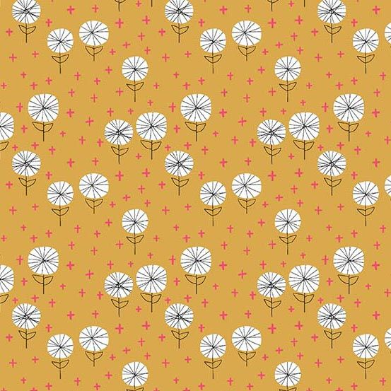 Around Town Dandelion Carrot Floral Flowers Botanical Cotton Fabric