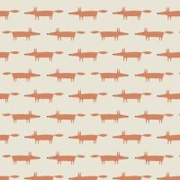 Dakarai Little Mr Fox Taupe Foxes Cotton Fabric by Scion