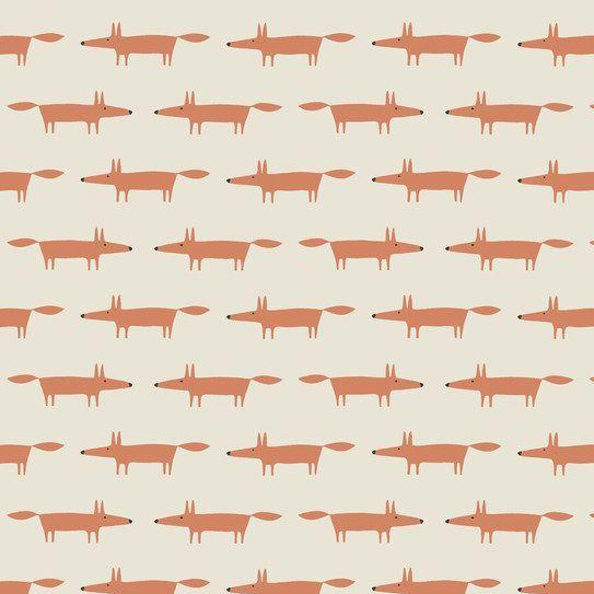 Dakarai Little Mr Fox Taupe Foxes Cotton Fabric by Scion