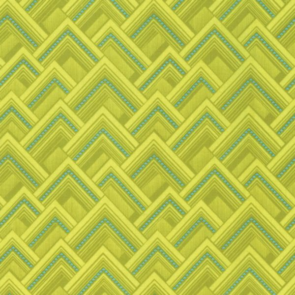 Splendor Mighty Corners Moon Glow Triangle Green Geometric Cotton Fabric