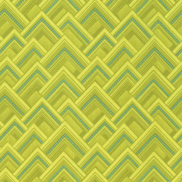 Splendor Mighty Corners Moon Glow Triangle Green Geometric Cotton Fabric