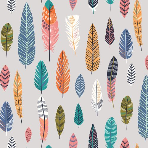 Boho Meadow Feathers on Grey Feather Cotton Fabric