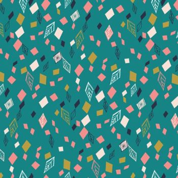 Boho Meadow Teal Geometric Leaf Diamond Cotton Fabric