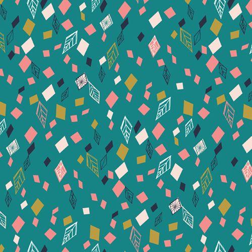 Boho Meadow Teal Geometric Leaf Diamond Cotton Fabric