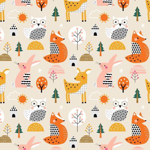 Geo Forest Multi Animals Woodland Fox Rabbit Owl Deer Tree Cotton Fabric