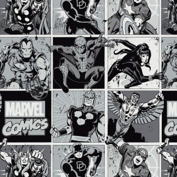 Marvel Comic Pop Power Blocks Stone Superhero Comic Books Heroes Monochrome Cotton Fabric