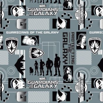 Marvel Guardians of the Galaxy Refresh Silhouettes Lead Logo Star-Lord Gamora Drax Rocket & Groot Cotton Fabric