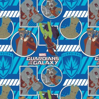 Marvel Guardians of the Galaxy Action In Blue Logo Star-Lord Gamora Drax Rocket & Groot Cotton Fabric