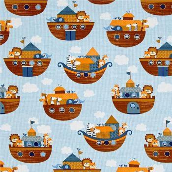 REMNANT Noah's Story Ark Animals Noah's Boat Light Blue Tiger Zebra Giraffe Elephant Lion Nursery Cotton Fabric