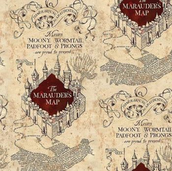 REMNANT Harry Potter Marauders Map Hogwarts Cotton Fabric