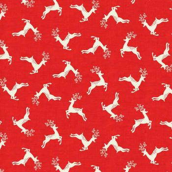 REMNANT Scandi Leaping Stag Deer Prancing Reindeer Stags Christmas Holiday Winter Red Cotton Fabric