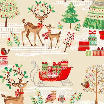 REMNANT Traditional Metallic Christmas Tree Retro Reindeer Holly Kitsch Scenic Bright Cotton Fabric