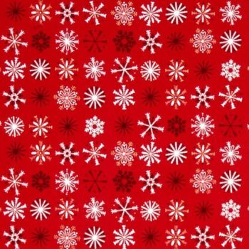 REMNANT Snowflake Traditional Metallic Snowflakes Christmas Holiday Winter Festive Cotton Fabric