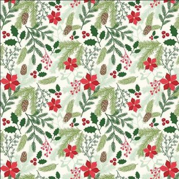 REMNANT Comfort and Joy Main Cream Christmas Poinsettia Holly Floral Holiday Winter Red Cotton Fabric