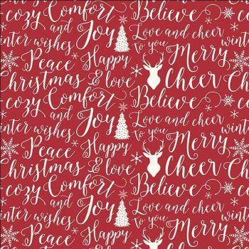 REMNANT 50cm Comfort and Joy Words Typography Christmas Text Holiday Winter Red Cotton Fabric