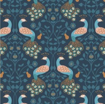 REMNANT 60cm Chieveley Peacock and Pear Floral on Darkest Blue with Metallic Rose Gold Copper Cotton Fabric