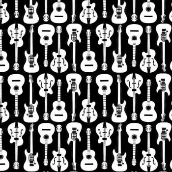 REMNANT Guitar Musicality Acoustic Electric Guitars Musical Instrument Music on Black Cotton Fabric
