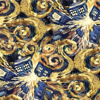 REMNANT Doctor Who Exploding Tardis Van Gogh BBC Cotton Fabric