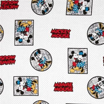 REMNANT Disney Mickey Vintage Mickey & Minnie Mouse Framed White Cotton Fabric