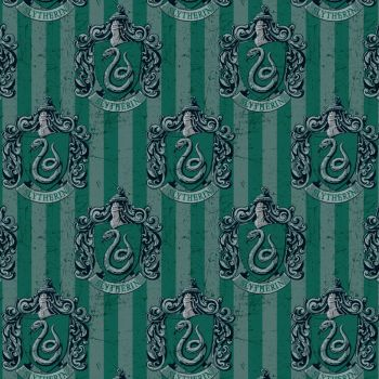 REMNANT Harry Potter Hogwarts Slytherin House Crest Snake Magical Wizard Witch Digital Cotton Fabric