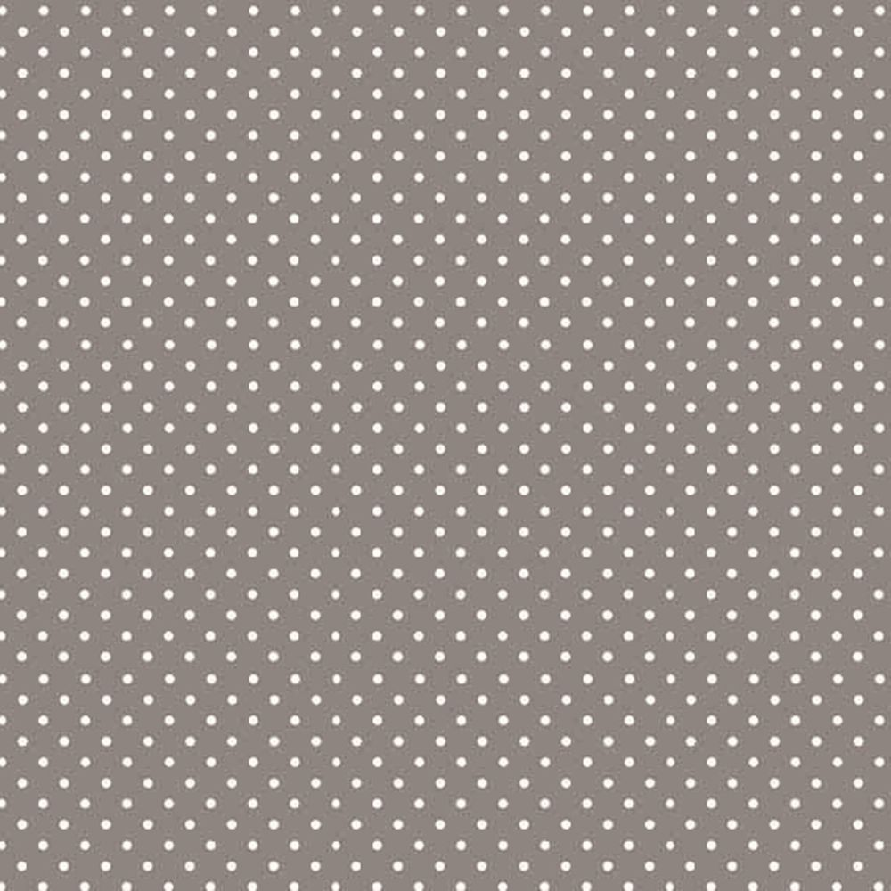 REMNANT Spot On Steel Grey White Polkadot on Grey Cotton Fabric by Makower