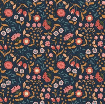 REMNANT Chieveley Country House Floral Flowers on Darkest Blue with Metallic Gold Cotton Fabric