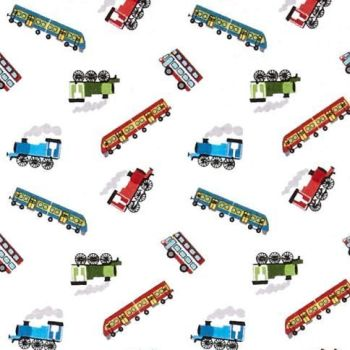 REMNANT Tiny Trains on White Steam Engine Small Things On The Move Locomotive Train Transport Cotton Fabric