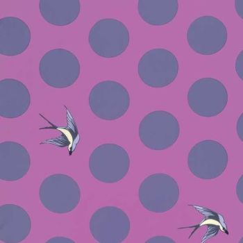 "RARE Tula Pink Free Fall Orchid Quilt Backing 108"" 2.70m Extra Wide Polka Dot Swallow Cotton Fabric"