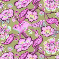 RARE Tula Pink Chipper Chipmunk Raspberry Cotton Fabric
