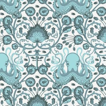 RARE Tula Pink Salt Water Octo Garden Aqua Octopus Anchor Fish Botanical Cotton Fabric