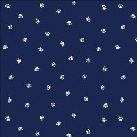 Hey Mister Who Me? Navy Paw Prints Paws Dogs Bulldog Cotton Fabric