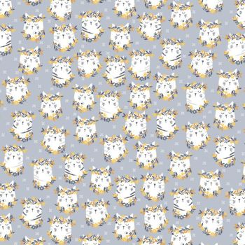 Feline Groovy Pawsome Metal Cats Flower Crown Cat Faces Floral Cotton Fabric