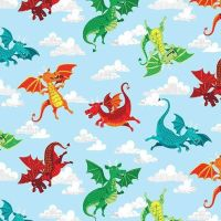 Dragonheart Dragons Blue Fairytale Dragon Sky Cloud Cotton Fabric