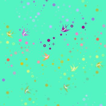 Tula Pink Pinkerville Fairy Dust Frolic Swallows Spots Stars Cotton Fabric