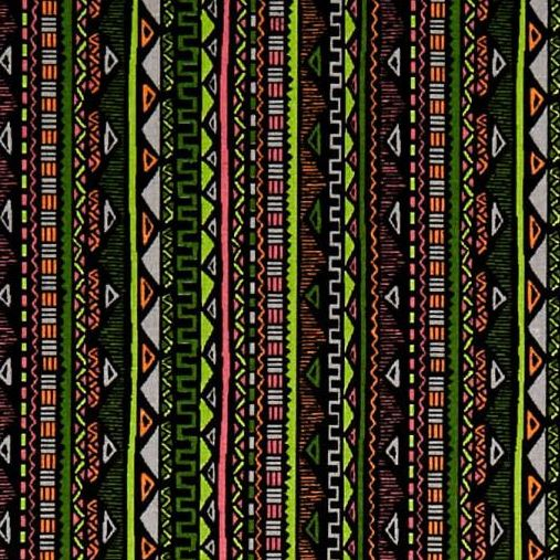 Aztec Stripe Geometric Triangle Maya Green Pink Neon Digital Cotton Fabric