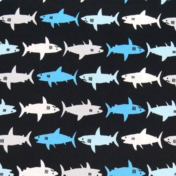 Kaufman Sevenberry Sharks Blue on Black Shark Swimming Cotton Fabric