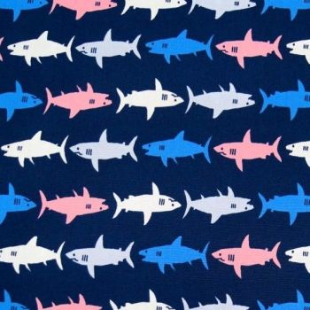 Kaufman Sevenberry Sharks Pink Blue on Navy Shark Swimming Cotton Fabric