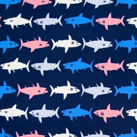 Kaufman Sevenberry Sharks Pink Blue on Navy Shark Swimming Cotton Fabric