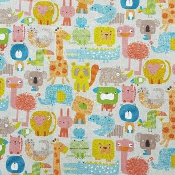 Wild Animals Zoo Safari Jungle Kawaii Ostrich Rhino Cat Monkey Giraffe Sukiya Nursery Animal Natural Cotton Linen Fabric