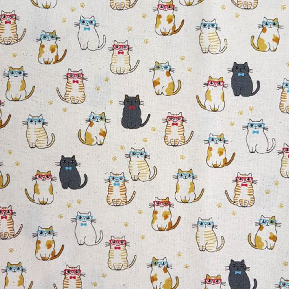 Cats in Glasses Cute Kawaii Cat Kitten Japanese Import Cotton Fabric