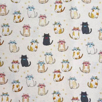 Cats in Glasses Cute Kawaii Cat Kitten Natural Japanese Import Cotton Fabric